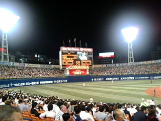 横浜スタジアムで野球観戦